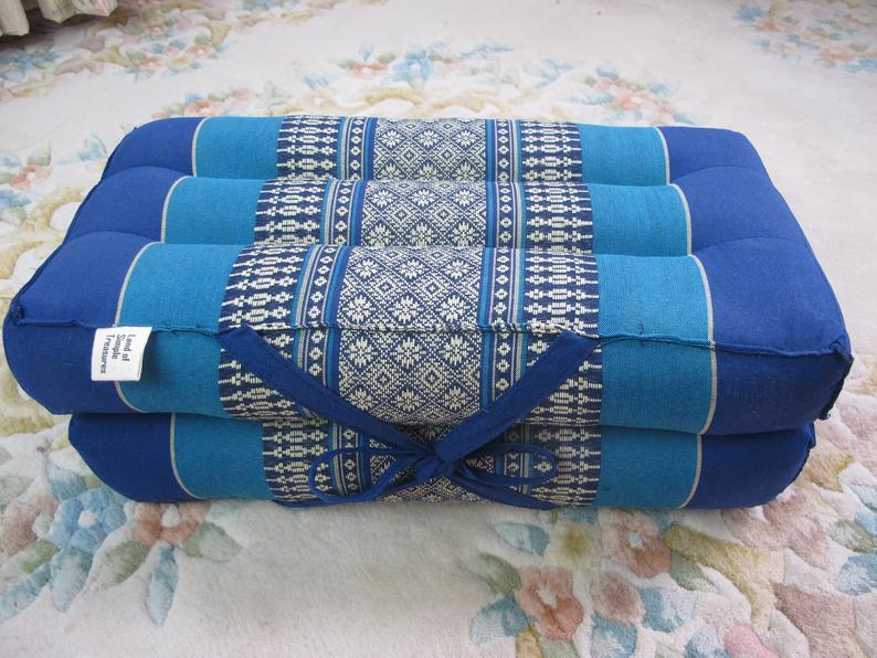 USA SELLER Kapok Filling Pillow Rectangle Block Foldable Yoga Seat Chair Floor Mat Meditation Cushion 100%  Natural