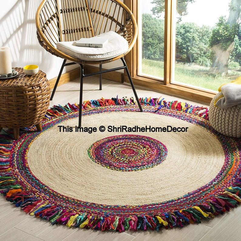 Meditation Rug Carpet Mat Rugs Circle Jute Area Floor Rugs Yoga Mat Indian Traditional Handmade Hand-Woven Bohemian Reversible Door Mat 4×4′