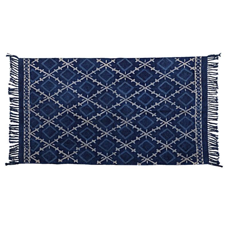 4X6 Ft Area rug /  Rug And Carpet /Indigo Rug / Blue Floor Rug And carpet  / Hand Woven Carpet / Indian Dhurrie