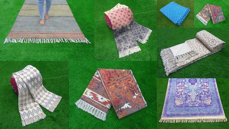 10 Pcs Lot Indian Dari Rug Handmade Carpet Cotton Rug Dari Rug Area Rug Turkish Kilim Rag Rugs Beach Rug Assorted Yoga Mat