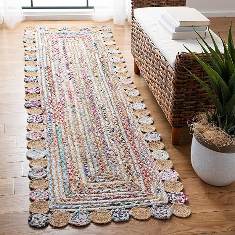 2 x 6 Ft Braided Natural Cotton Handmade Natural Jute Runner Reversible Rectangle Area Rug Indian Rag Rug Decorative Vintage Rag Rug