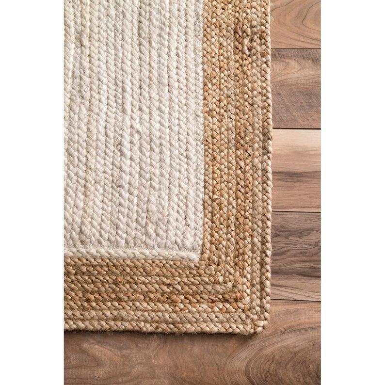 Braided jute rug, Boho Jute Area Rug Large Boho Rug Eco Friendly Rug Turkish Solid Custom Size Yoga Beautiful Rag Rug