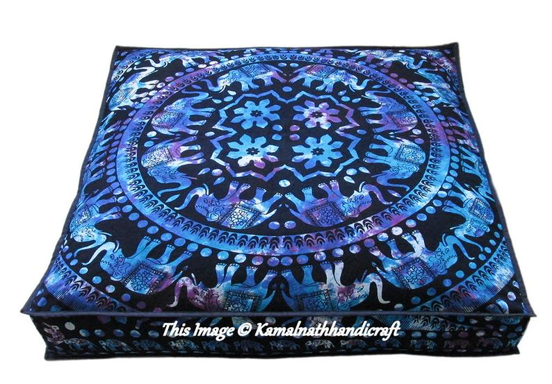 35″ Large Indian Elephant Mandala MultiColor Square dog bed Cover Floor Cushion Cover Large Ottoman Square Yoga Mat Pet Bed Throw Pillow Art