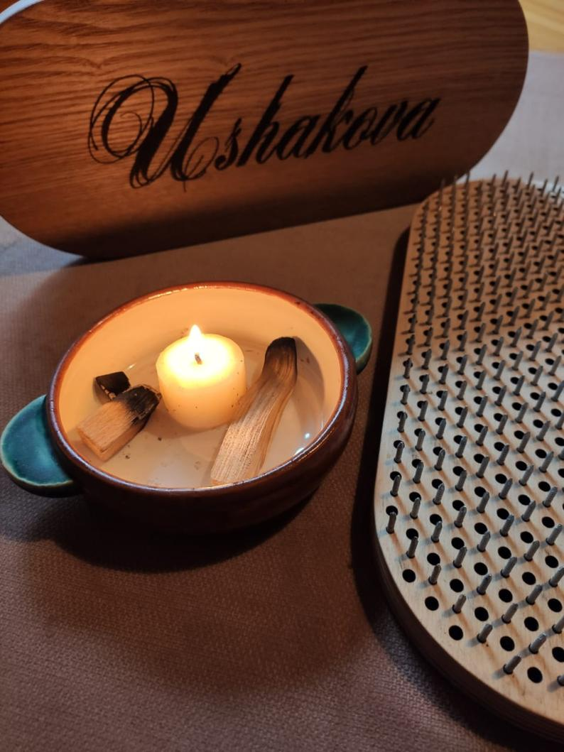 Natural wood Sadhu board with custom design | NiiDRA board | Board with nails | Meditation sadhu board