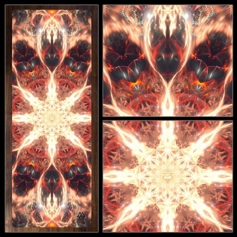 Muladhara YOGA MAT, Chakra, Fractal, Visionary Art, Spiritual, Psychedelic, Cosmic, Eco, Meditation, Zen, Pilates, Fitness, Healing