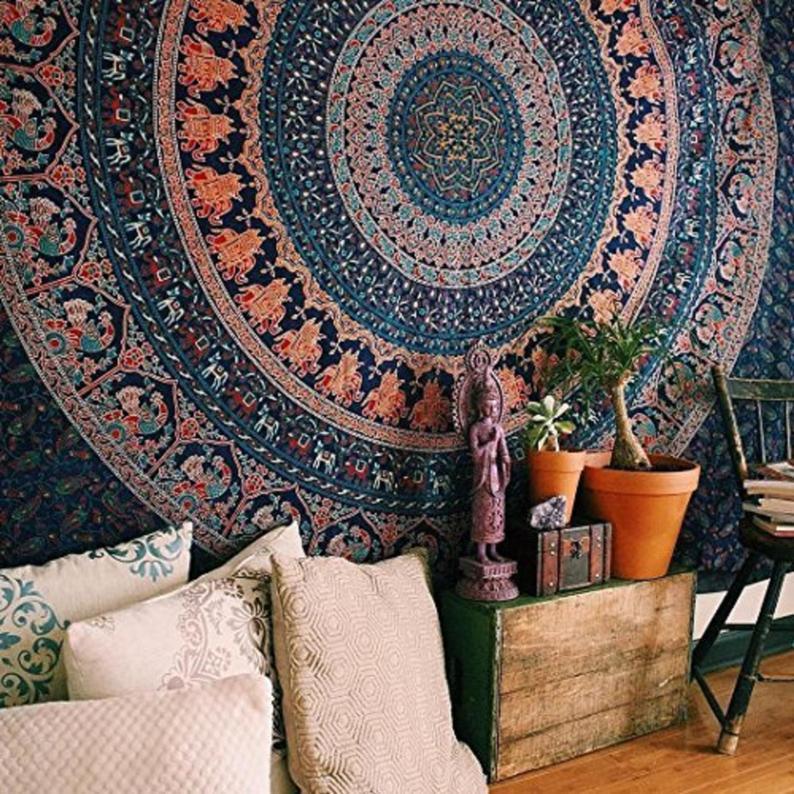 Tapestry Blue Elephant Multi tapestry Mandala tapestry Indian Cotton Bedspread Picnic Bedsheet Blanket WallArt Hippie tapestry
