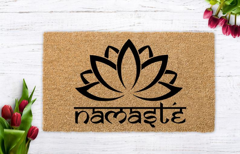 Namaste Doormat, Yoga Gift, Meditation Gift, Lotus Flower, Wedding present, Closing Gift, Housewarming Gift, Vegan gift, Yoga gifts, Namaste