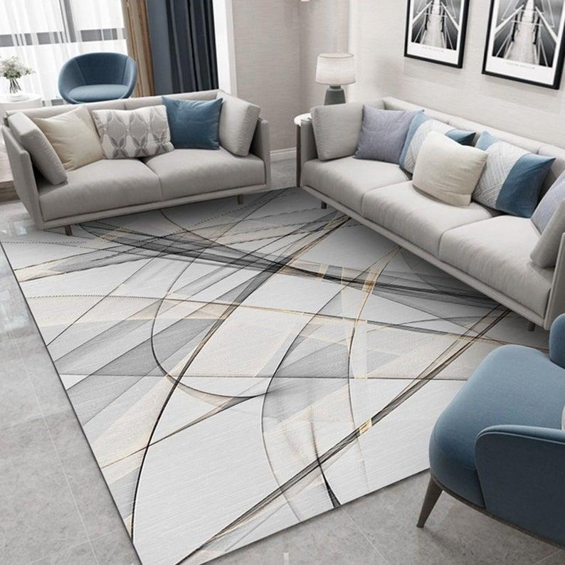 Simple Line Carpet, Living Room Coffee Table Blanket, Household Blanket, Bedroom Floor Mat