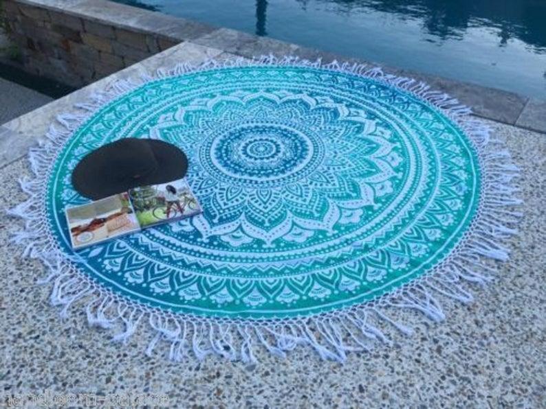 Ombre Mandala Round Roundie Beach Blanket Beach Hippie Bohemian Tapestry Boho Picnic Towel Yoga Mat Beach Tapestry