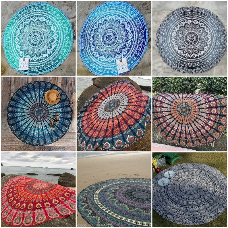 Round Table Cloth, Round Tapestry Indian Mandala Tapestry Beach Tapestry Roundie Bohemian Sofa Table Cover Picnic Mat Beach Throw Tapestry