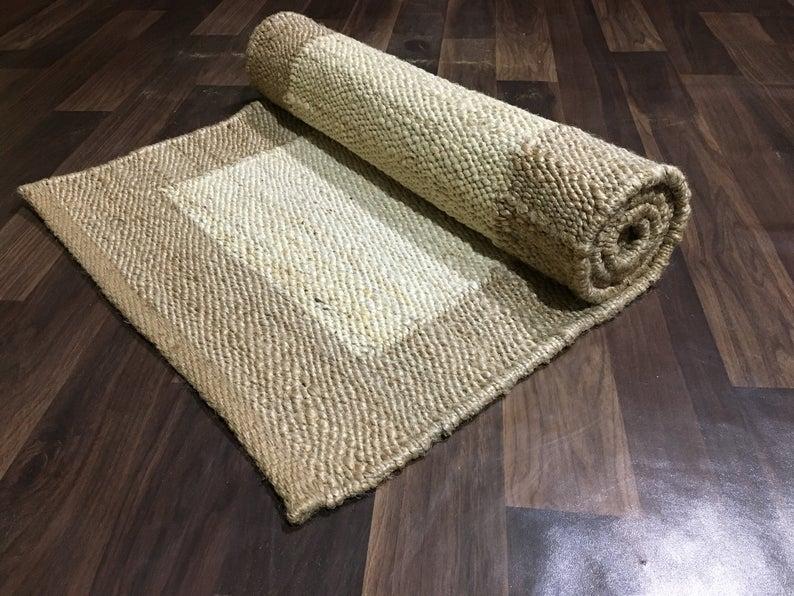 2×6, 2×12, 2×20 ft.hemp jute runner, natural jute runner, jute bed side runner, area jute rug, vintage area rug, natural jute hemp, jute rug