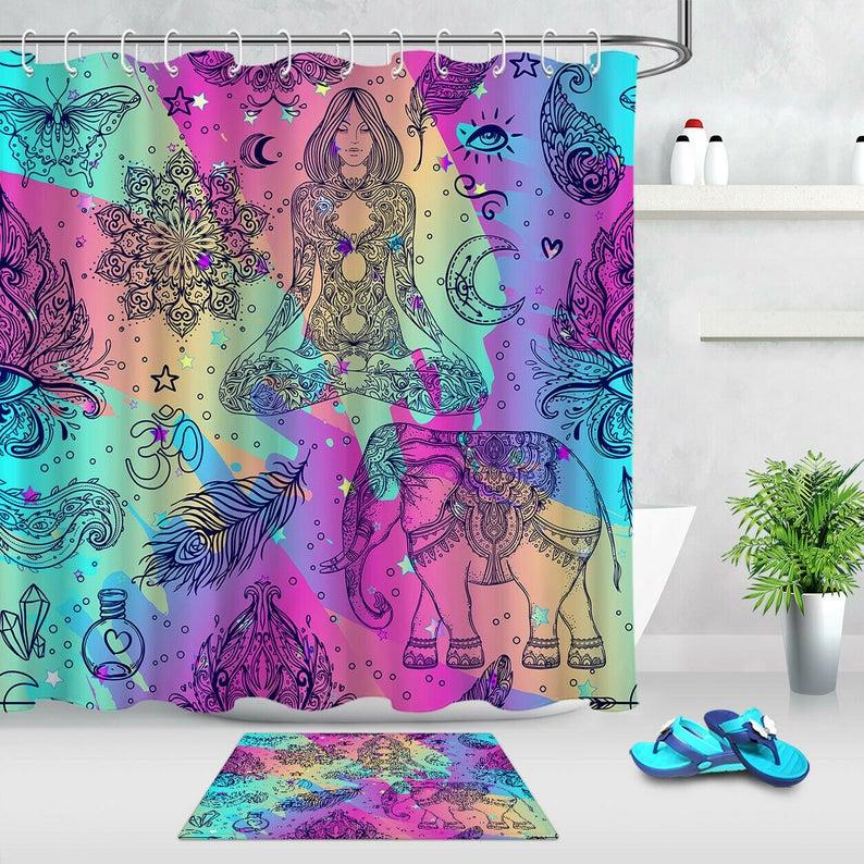 Hippie Ornamental Boho Style Elephant Mandala Shower Curtain Yoga Hohemian Girl Set Bathroom Decor Funny Decorative