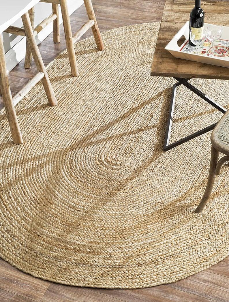 Craftscity natural jute hand braided beautiful area rug carpet