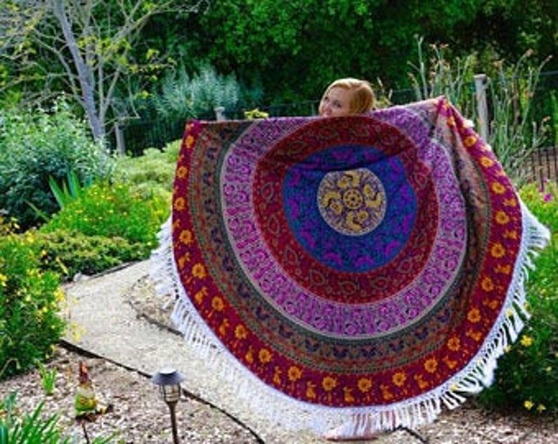 Star Round Mandala Tapestry Wall Hanging Art Round Beach Towel Six Color Roundie Table Cloth Blanket Bohemian Yoga Mat Mandala Indian Art