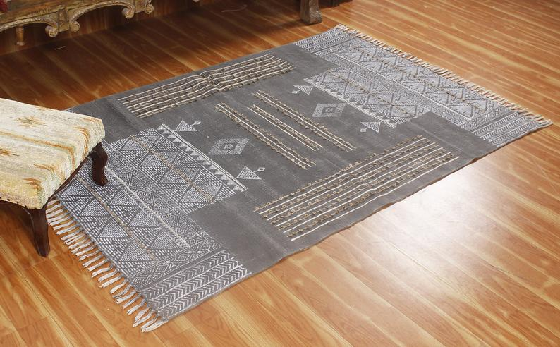 Kilim 5×5 ft Handwoven Runner Rugs | Hand Block Printed Cotton Dhurrie | Cotton Rug | Hand Work Rug | Throw Area Rugs | Living Room Rugs