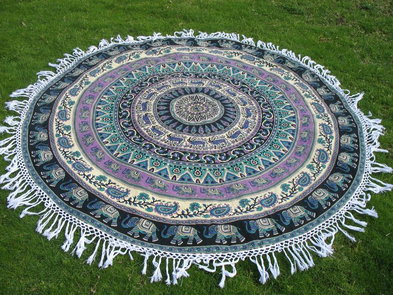 Indian Handmade Cotton 72″ IN & 54″ IN Round Hippie Wall Hanging Round Tapestry For Sale