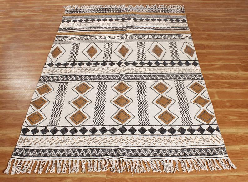 Kilim 5×5 ft Area Rug | Indian cotton dhurrie//Rug runner/Indoor rug/Handwork rugs | Handmade rug/Hand block printed rug/Cotton area rug