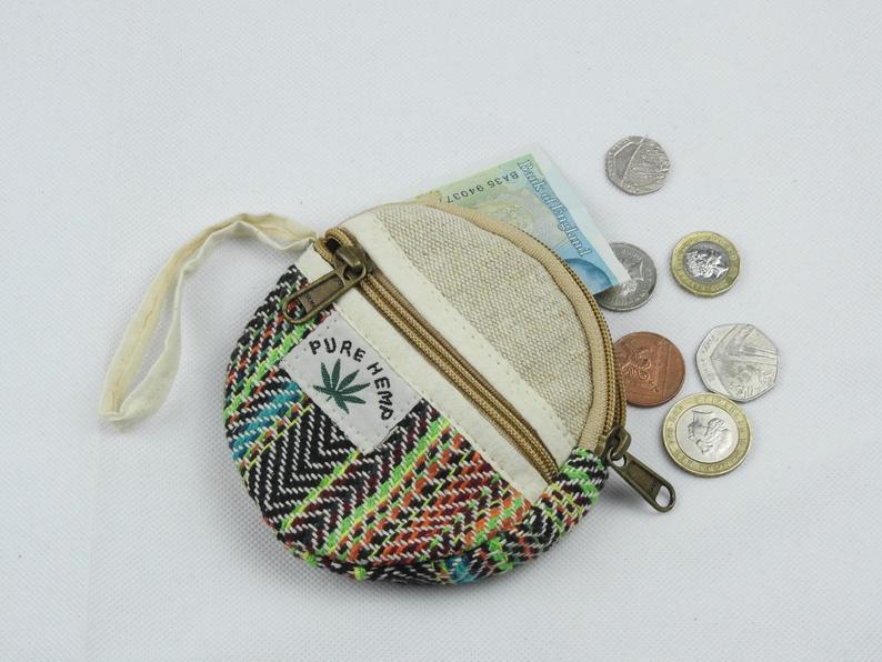 Rainbow Hemp coin purse || Organic Cotton || Fairtrade || vegan Friendly || Coin Purse || Money Purse || Pouch || Hemp Purse