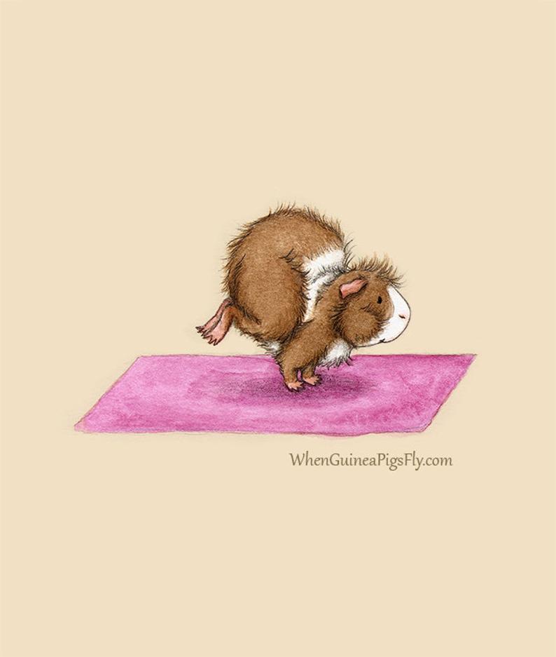 Crane Pose 8×10 – Cute Guinea Pig Yoga Art Print – the Yoguineas Collection