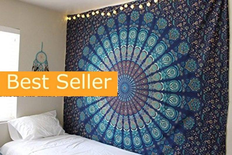 Wall Tapestry Mandala Tapestry Wall Hanging Tapestry Cotton Hippie Boho Tapestry Twin/Queen Blue Mandala Handmade Bedspread Indian Tapestry