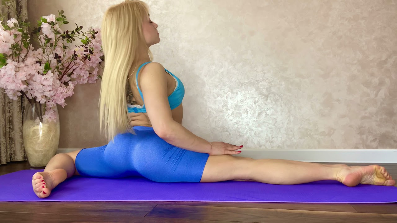 Yoga poses training. Gymnastics and contortion. Flexibility Training for Splits
