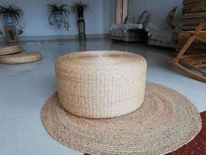 Custom round light coffee table with sponge filling beige and brown Pouf ottoman Yoga meditation cushion Zafu Zabuton stoolChristmas gifts