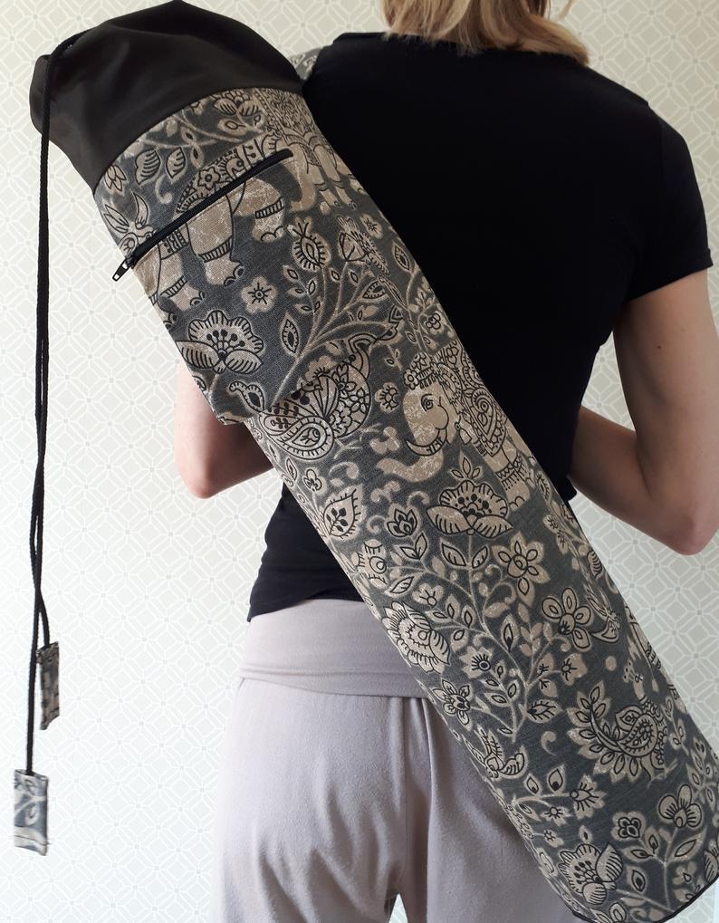 Charcoal Elephant Print Yoga Mat Bag  – Large Patterned Yoga Mat Bag – Yoga Mat Bag with zipped pocket – Washable Drawstring Yoga Mat Bag