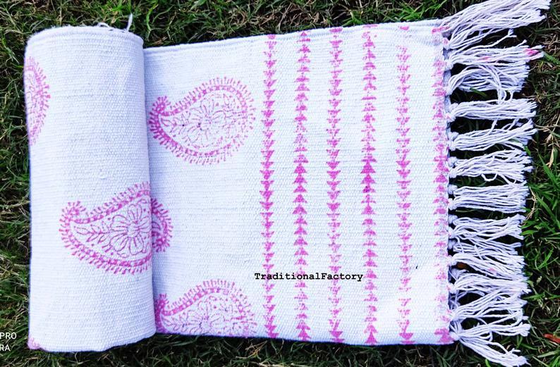 Pink & Blue Double Side Block Print Rustic Rugs,Indian Cotton Rug,Decorative Rug,Bohemian Indian rugs,Vintage art Handmade Rug,Bohemian Rug