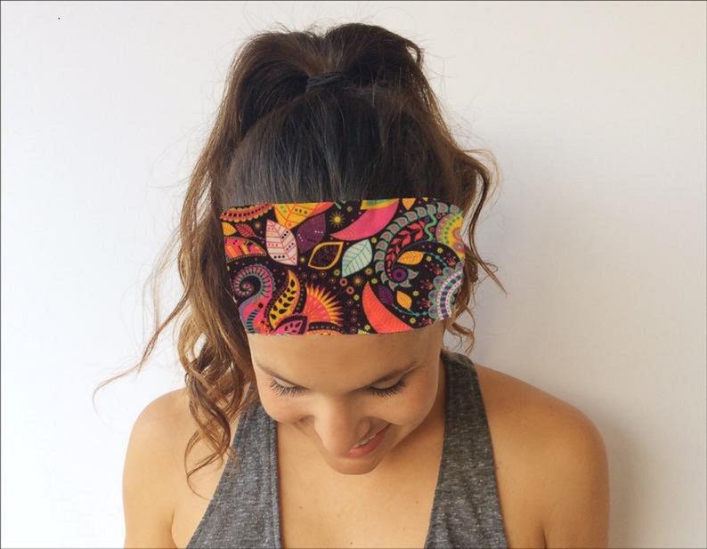 Yoga Running Headband – Wild Abandon Print – Workout Headband – Fitness Wide Nonslip Headband
