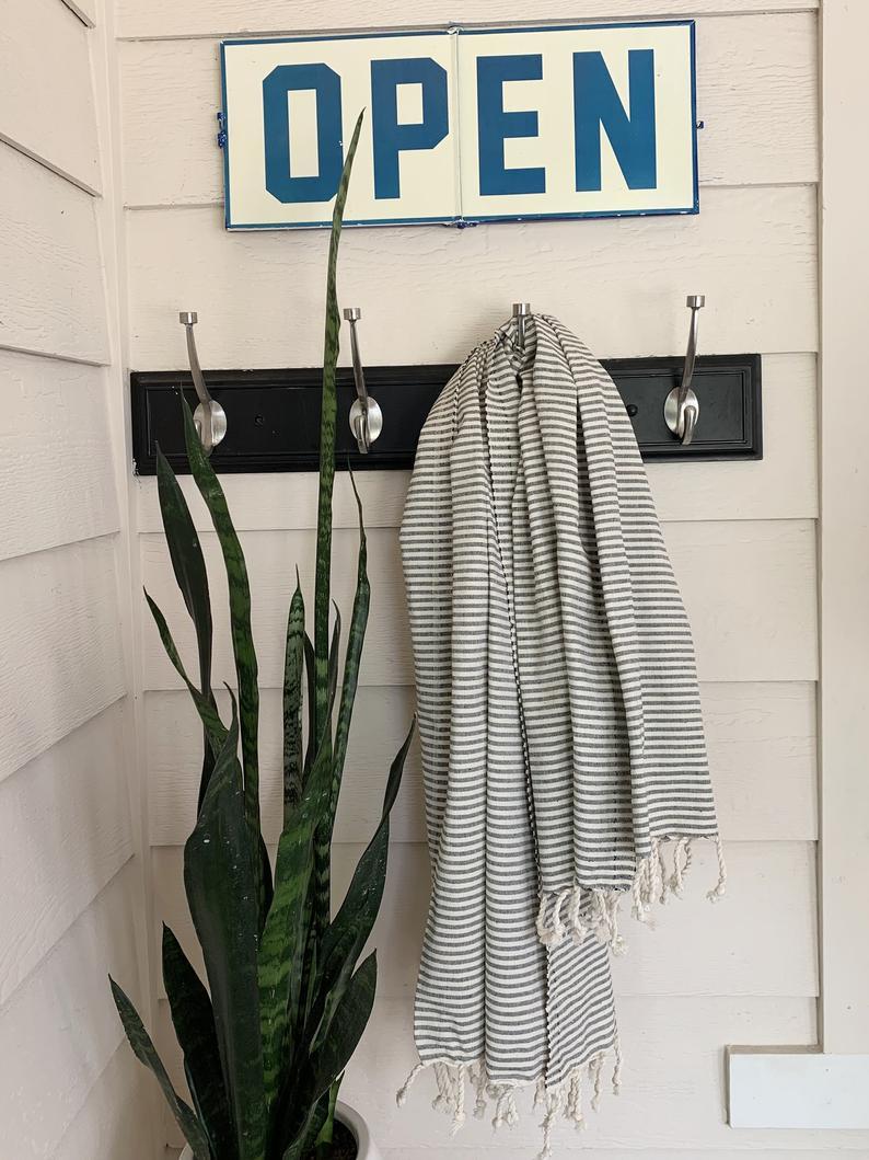 Black and Beige striped BIG Turkish towel
