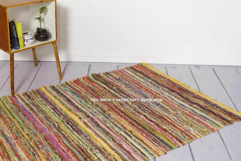 Yellow Chindi Rug Indian Handmade Rug Floor Mat Cotton Rug Floor Rug Door Mat Bath Mat Yoga Rug Area Rug Round Rugs Hand Braided Chindi Rug