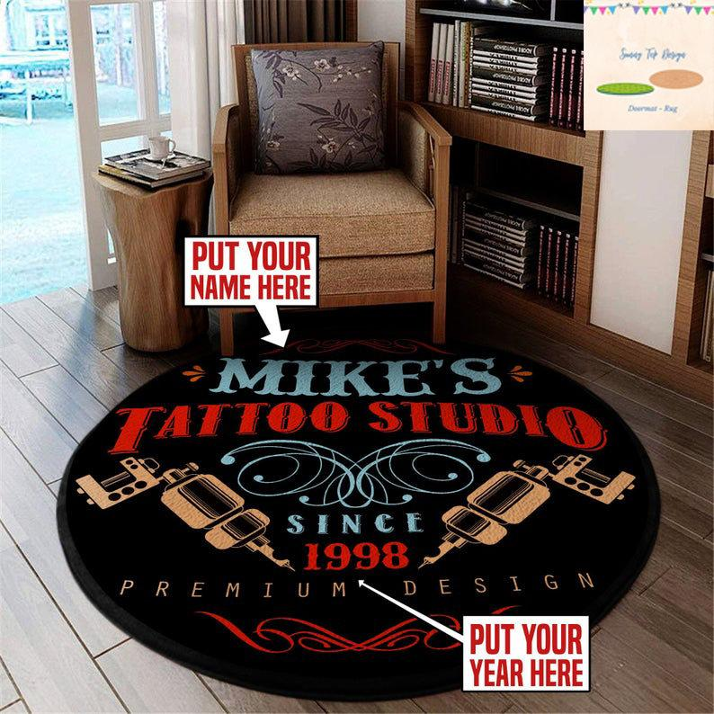 Personalized Tattoo Rug Premium Round Rug Funny Rug Carpet Mat Polyester Rug Family Birthday Housewarming Gift