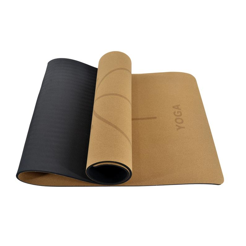 Natural Cork Rubber Yoga Mat Non Slip for Home Gym Yoga Pilates Workout Exercise, 72X24 IN