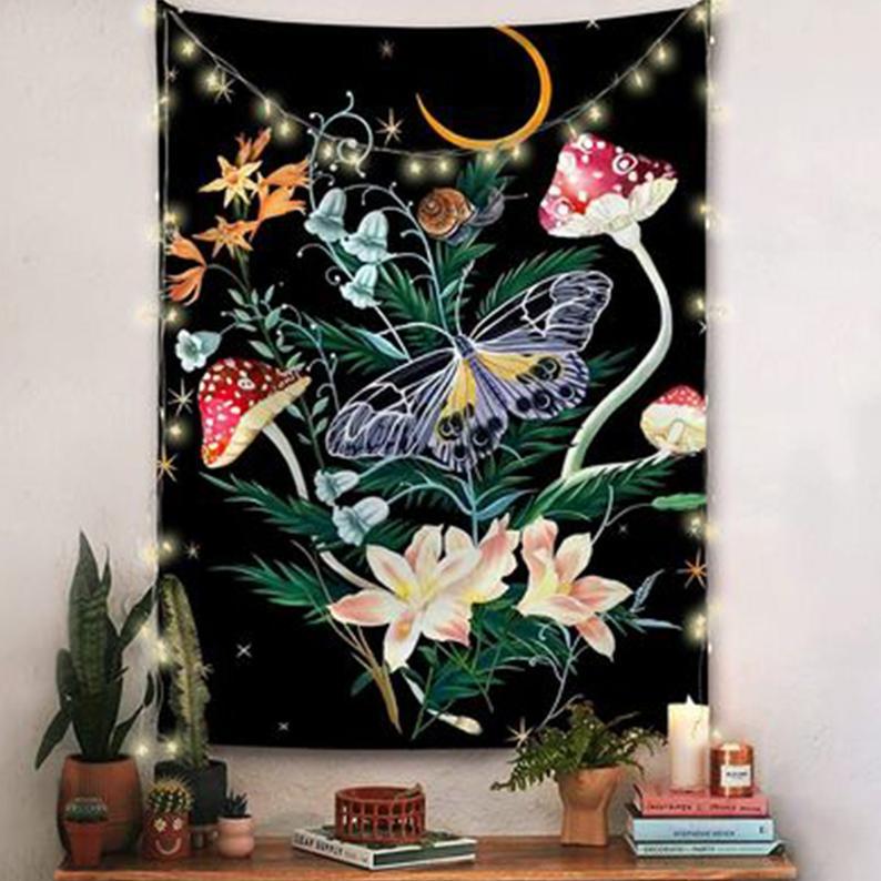 Mushroom Butterfly Wall Art Tapestry Beautiful Wall Cloth Beach Towel Yoga Mat Festival/Dorm/Living Room Wall Decoration Tapestry Kit