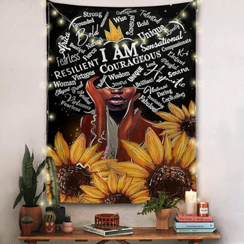 Sunflower And Girl Wall Art Tapestry Beautiful Wall Cloth Beach Towel Yoga Mat Festival/dorm/living Room Wall Decoration Tapestry Kit