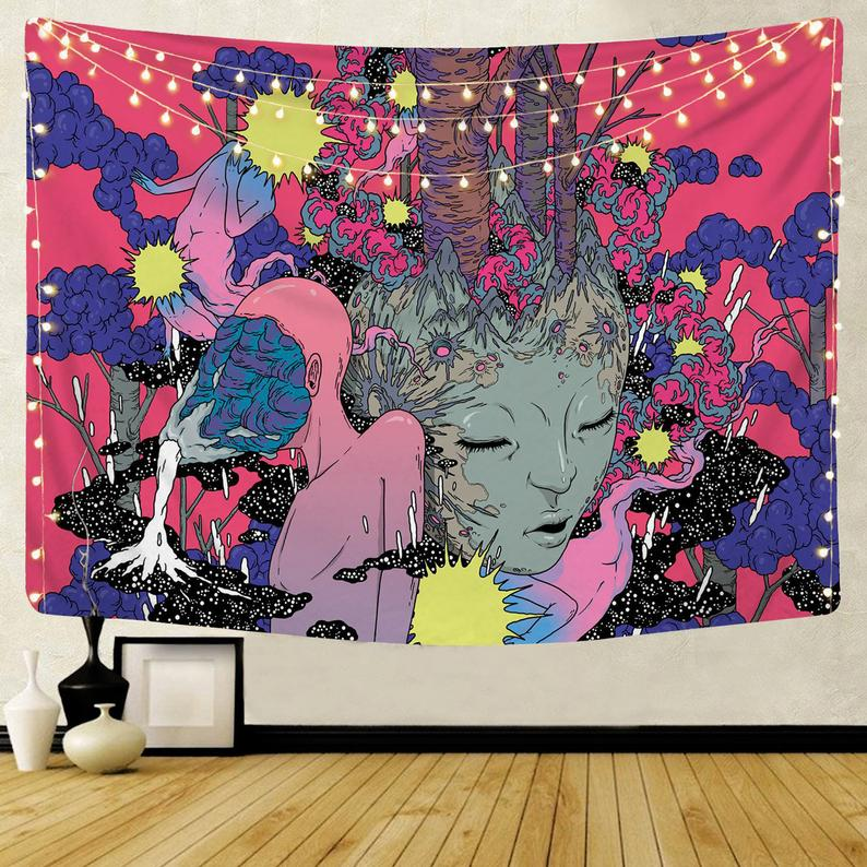 Psychedelic Forest Girl Art Tapestry Beautiful Wall Cloth Beach Towel Yoga Mat Holiday/dorm/living Room Wall Decoration Tapestry Kit