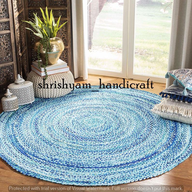 Handmade Rag Rug Indian Hand Braided Bohemian Colorful Cotton Chindi Area Rug cotton area rugs Floor Rug Circle Rug 7 Feet Round Rug Carpet