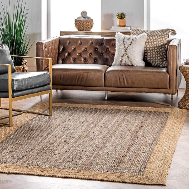 Indian Handmade Braided Bohemian Pure Jute with Inner Grey Shade Runner Area Rug Home Decor Rugs Floor Decor Carpet Size 3.5 X 4.5 Feet