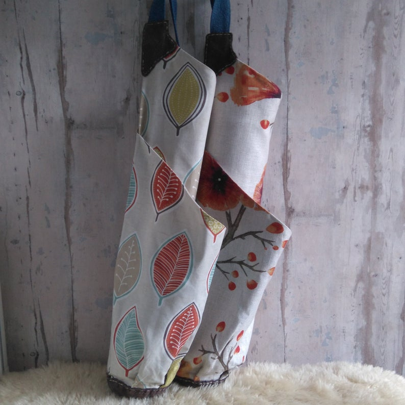 Handmade Yoga Mat Bag in Floral Linen ~ Recycled gift