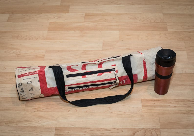 Yoga Bag – handmade in Cambodia from recycled cement bags!  Lightweight and durable