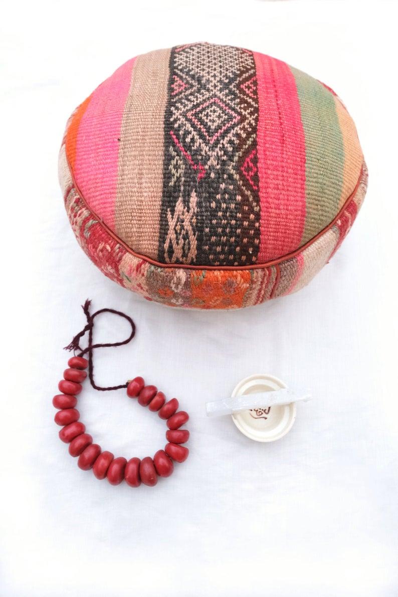 Meditation cushion cover | Moroccan Pouf | Floor Pillow | Vintage Pouf | Ottoman