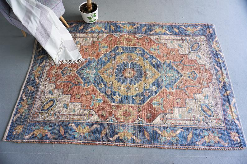 Jute chenille boho rug rug bohemian design hand woven area rug home decor living room area rug