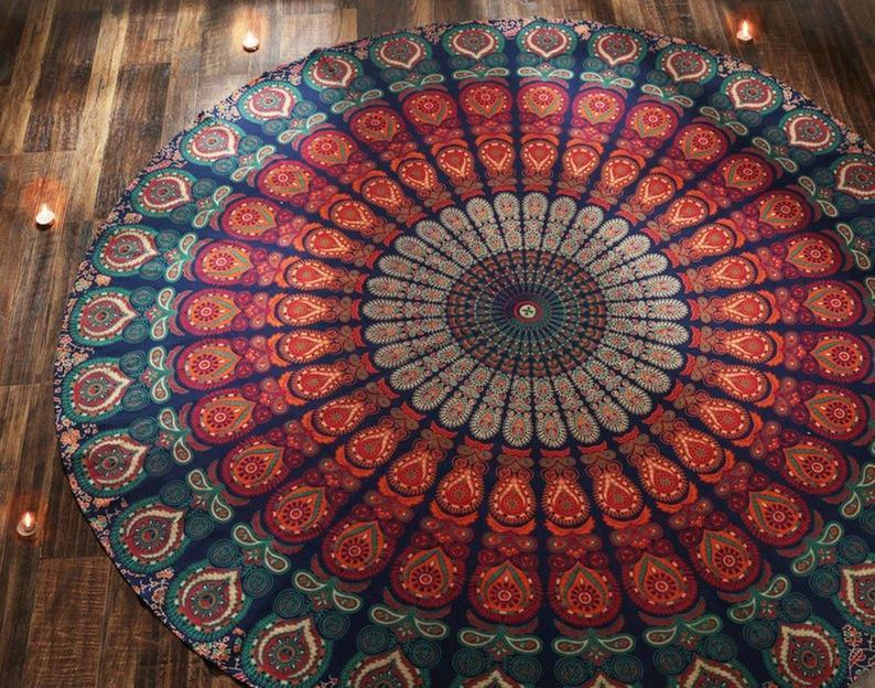 Indian Mandala Round Roundie Circle Beach Picnic Throw Table Cloth Boho Hippie Blanket Bohemian Yoga Mat Throw