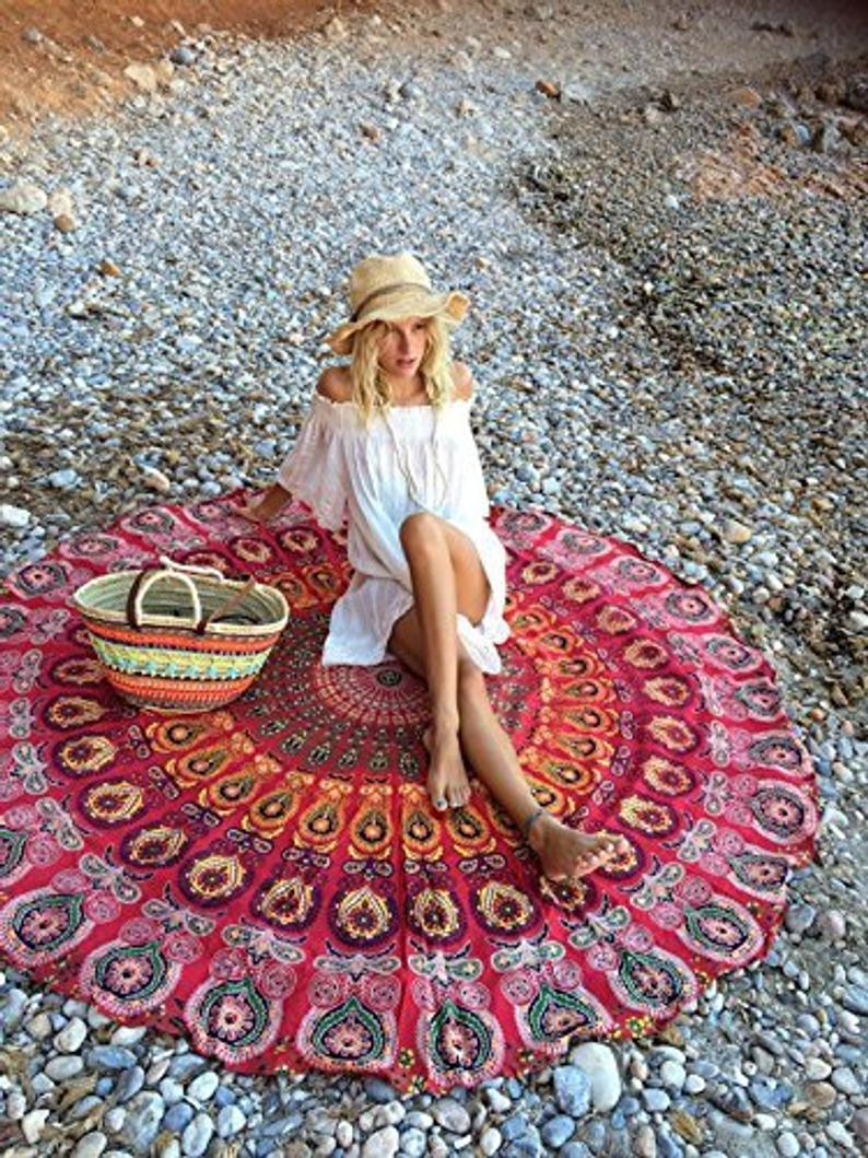 100% Cotton Blue Mandala Round Tapestry Blankets Throws Roundie Picnic Gypsy Cotton Tablecloth Beach Meditation Round Yoga Mat 72 Inch