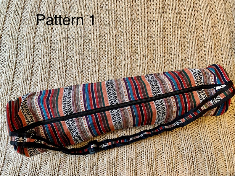 Yoga/ Camping/ Festival/ Beach Mat Bags Indian Colourful Cotton Fabric Adjustable Strap Sturdy Zip 70cm Long Boho Hippie No Leather