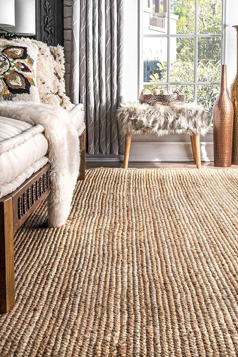 Home Decor Indian Handmade Braided Bohemian Pure Jute Runner Area Rug Home Decor Rugs Floor Decor Carpet Size  ( 4.5 X 16 Feet)
