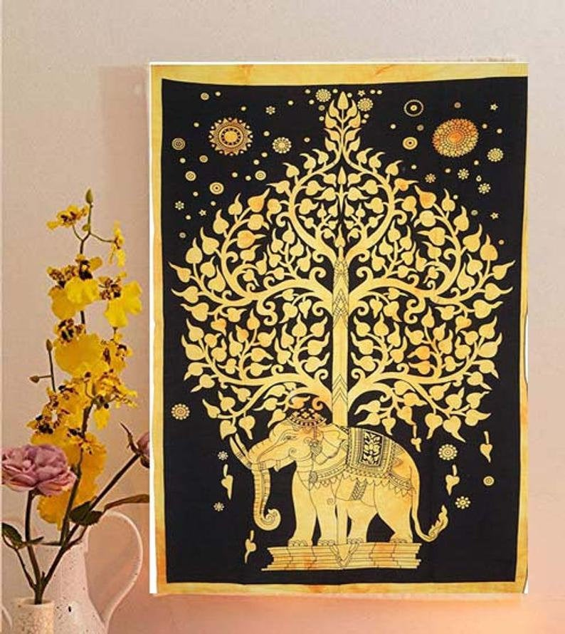 Tapestry Elephant Multi Tapestry Wall Hanging Mandala Tapestries Indian Cotton Bedspread Picnic Bed sheet Blanket Wall Art Hippie Tapestry