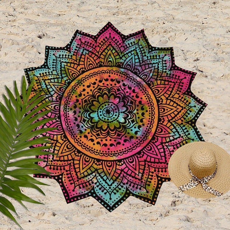 Indian Mandala Round Tapestry Hippie Dorm Décor Roundie Beach Bohemian Circle Beach Towel Yoga mat Tapestries Ombre Table Cloth Wall Hanging
