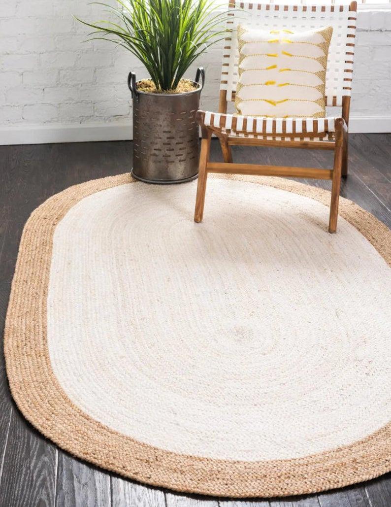 braided rug, Natural Handwoven Boho Jute Area Rug Large Boho Rug Eco Friendly Rug Turkish Solid Custom Size Yoga Beautiful Rag Rug