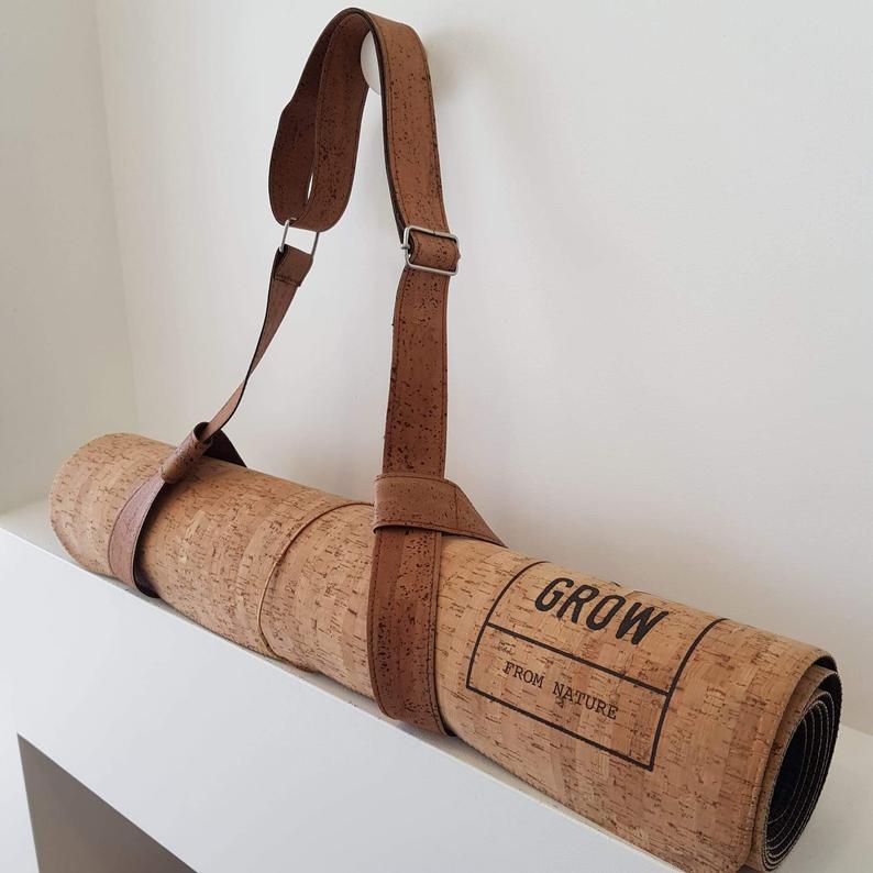 Yoga mat strap in natural cork